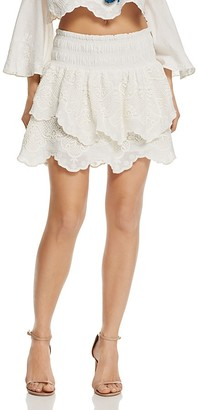 Red Carter Vega Tiered Mini Skirt $150 thestylecure.com