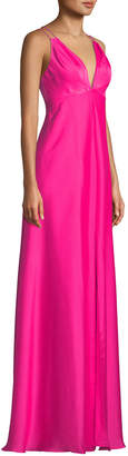 Aidan Mattox Deep V-Neck Open-Back Gown