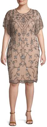 Adrianna Papell Plus Beaded Mesh Sheath Dress