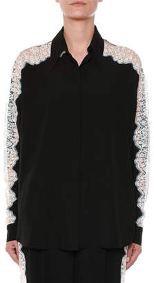 Stella McCartney Long-Sleeve Button-Front Silk Blouse w/ Lace Insets