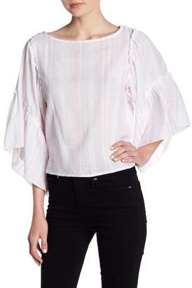 Romeo & Juliet Couture Striped Ruffle Bell Sleeve Blouse