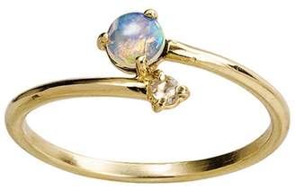 WWAKE Opal With Diamond Crossover Ring