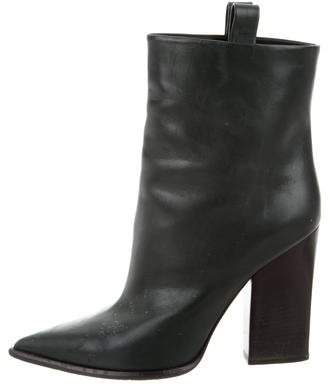 Céline Leather Pointed-Toe Ankle Boots