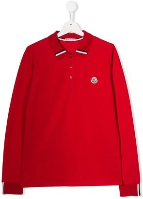 Moncler TEEN striped collar polo shirt