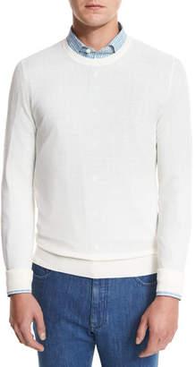 Ermenegildo Zegna Textured Crewneck Sweater, Natural $495 thestylecure.com