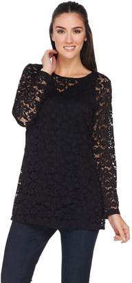 Susan Graver Stretch Lace Long Sleeve Tunic with Tank