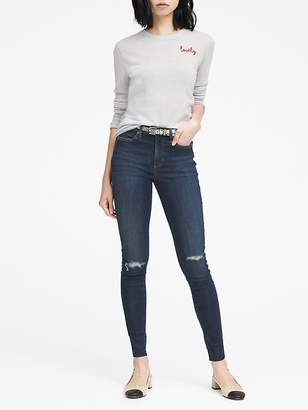 Banana Republic Petite High-Rise Legging-Fit Medium Wash Jean with Fray Hem
