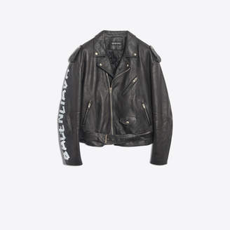 Balenciaga Vintage calfskin belted biker jacket with tag painted on right arm