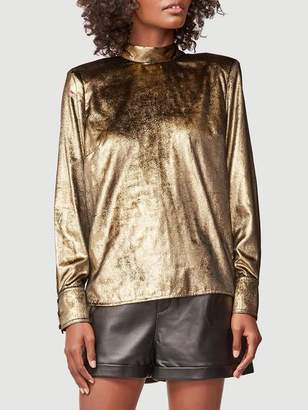 Frame Metallic Velvet Tie Top