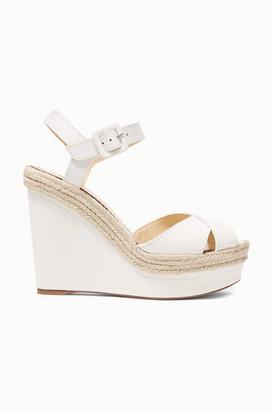 Christian Louboutin Almeria 120 Leather Espadrille Wedge Sandals - White