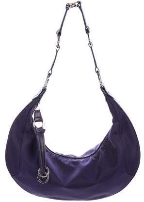 Longchamp Leather-Trimmed Nylon Hobo Bag - PURPLE - STYLE
