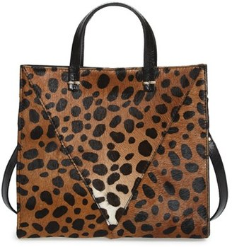 Clare V. 'Petit Simple' Leopard Print Genuine Calf Hair Tote - Brown $325 thestylecure.com