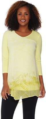 Halston H By H by 3/4 Sleeve Abstract Border Print Mixed Media Tunic