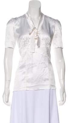 Dolce & Gabbana Short Sleeve Silk Blouse