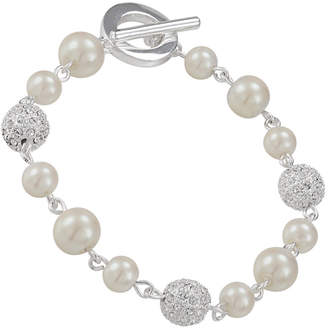 Carolee Bracelet, Glass Pearl and Crystal Fireball