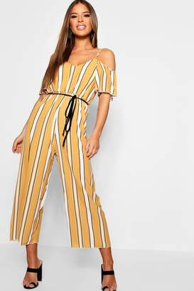 boohoo Petite Striped Cold Shoulder Jumpsuit