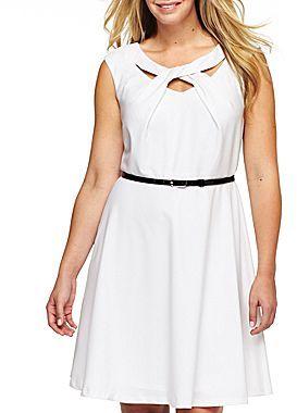 JCPenney Alyx Belted Twist Neckline Dress - Plus