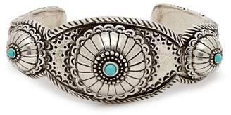 Saint Laurent Turquoise Cabochon Cuff - Womens - Silver