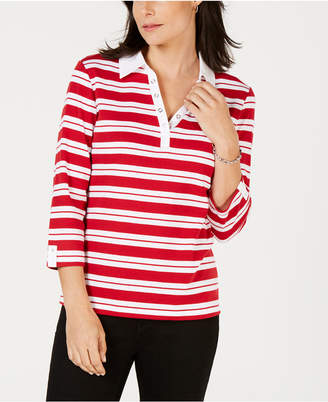 Karen Scott Striped Split-Neck Grommet-Trim Top
