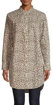 Current/Elliott Current Elliott Leopard-Print Cotton Shift Shirtdress