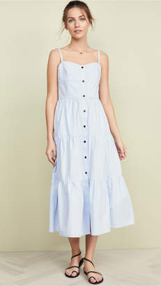 Solid & Striped Button Up Tiered Dress