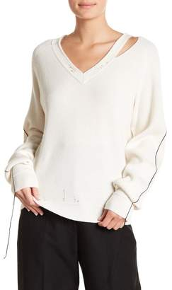 Helmut Lang Distressed V-Neck Sweater