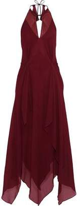 Roland Mouret Risby Gathered Silk-crepe Halterneck Gown