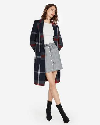 Express High Waisted Plaid Snap Button Sash Waist Skirt