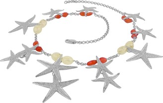 Forzieri Starfish Pendants Sterling Silver Gemstones Necklace