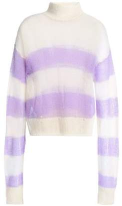 McQ Distressed Striped Open-Knit Mohair Wool-Blend Sweater