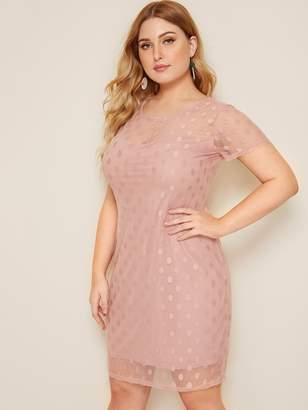 Shein Plus Dobby Mesh Overlay Dress