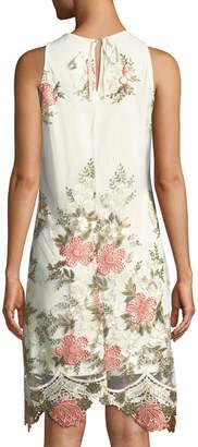 Julia Jordan Sleeveless Floral-Embroidered Mesh Dress