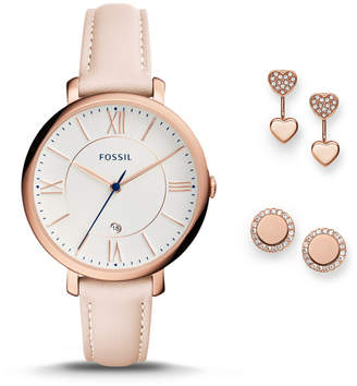 Fossil Jacqueline Three-Hand Date Blush Leather Watch and Jewelry Box Set