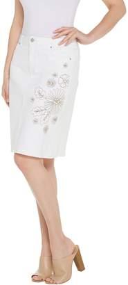 Susan Graver Stretch Slub Twill Embroidered Skirt - White