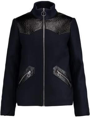 Maje Faux Textured Leather-Paneled Wool-Blend Jacket