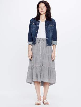 Mother XiRENA Kaia Lido Cotton Stripe Shirting Skirt Sandstone