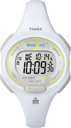 Timex Womens White Resin Strap 10-Lap Watch T5K6069J $34.36 thestylecure.com