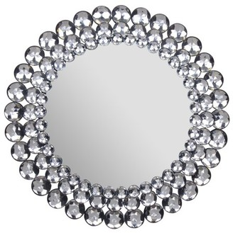 """Gallery Solutions Round Jeweled Mirror, 17"""""""