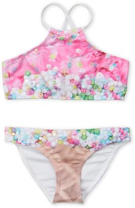 Pilyq Girls 7-16) Two-Piece Embriodered Ice Cream Print Halter Bikini