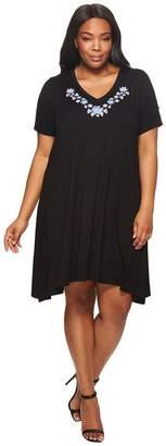 Karen Kane Plus Plus Size Embroidered Handkerchief Dress Women's Dress