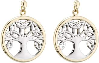 Celtic Solvar Two-Tone Family Tree Drop Earrings, 14K