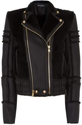 Balmain Shearling Trim Leather Aviator Jacket