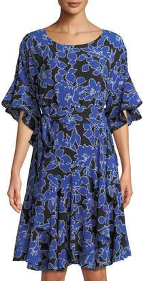Neiman Marcus 3/4-Sleeve Floral Tie-Waist Flounce Dress