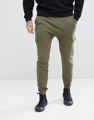 Asos Skinny Joggers With Cargo Pocket In Green