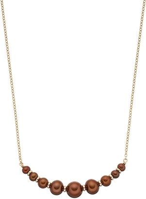 14k Gold Dyed Brown Freshwater Cultured Pearl Rondelle Curved Bar Necklace