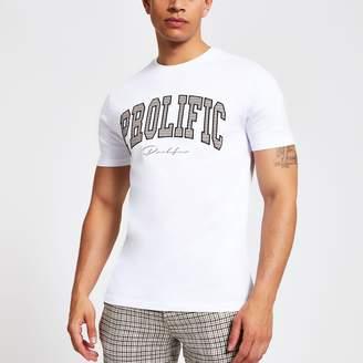 dbb267be River Island Mens White 'Prolific' check slim fit T-shirt