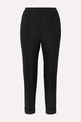 Haider Ackermann Satin-trimmed Fleece Wool-crepe Tapered Pants - Black