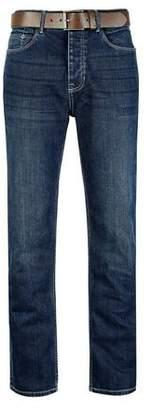 Burton Mens Mid Blue Logan Straight Leg Jeans