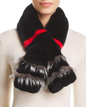 Maximilian Furs Rabbit Fur Scarf with Fox Fur Trim