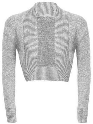 R KON Women Long Sleeve Open Front Knitted Lurex Bolero Shrug Cardigan Top SM